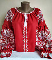 """Вишита блуза в стилі бохо """"Таємниця"""" червона"""