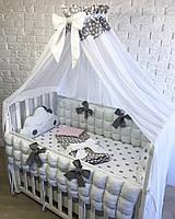 Комплект в детскую кроватку с балдахином для девочки, цвет белый
