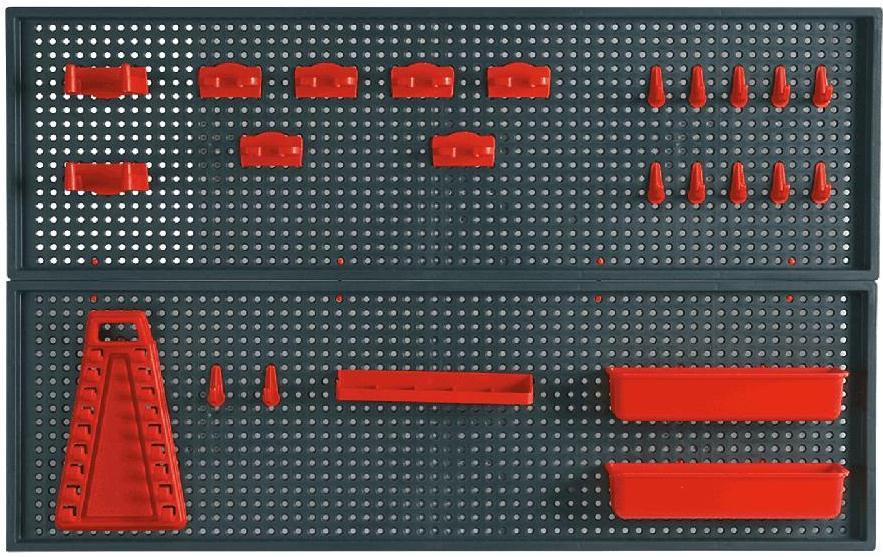 Topex 79R186 Панель перфорированная для инструмента - 2 шт. размер 25 x 90 см, 2 контейнера, 10 зажимов, 8 захватов