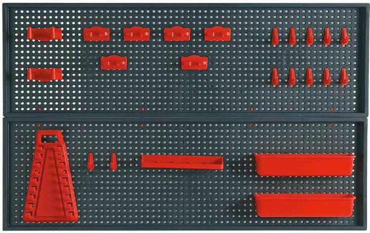 Topex 79R186 Панель перфорированная для инструмента - 2 шт. размер 25 x 90 см, 2 контейнера, 10 зажимов, 8 захватов, фото 2