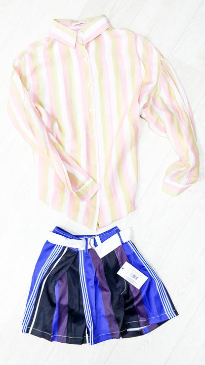 Шорты полосатые сине-фиолетовые-511-618-3