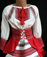 """Украинский костюм  (платье-юбка) """"Подоляночка"""" для девочек 110-164/красно-белый"""