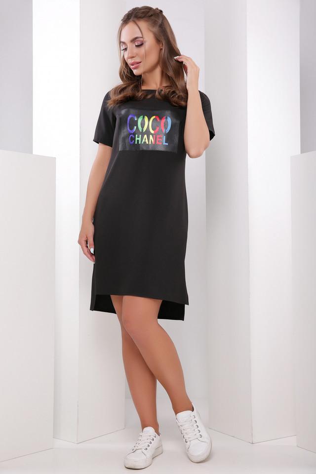 Летнее платье туника асимметричное прямое короткий рукав принт шанель черное