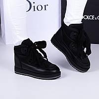 Женские дутики черные  широкий  шнурок, фото 1