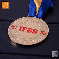 """Медаль металическая круглая """"IFBB"""", фото 1"""