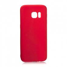 Soft-touch силиконовый чехол SMTT для Samsung S7 Красный