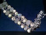 Браслет адуляр лунный камень и топаз, браслет натуральный лунный камень в серебре Индия, фото 5