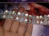 Браслет адуляр лунный камень и топаз, браслет натуральный лунный камень в серебре Индия, фото 3