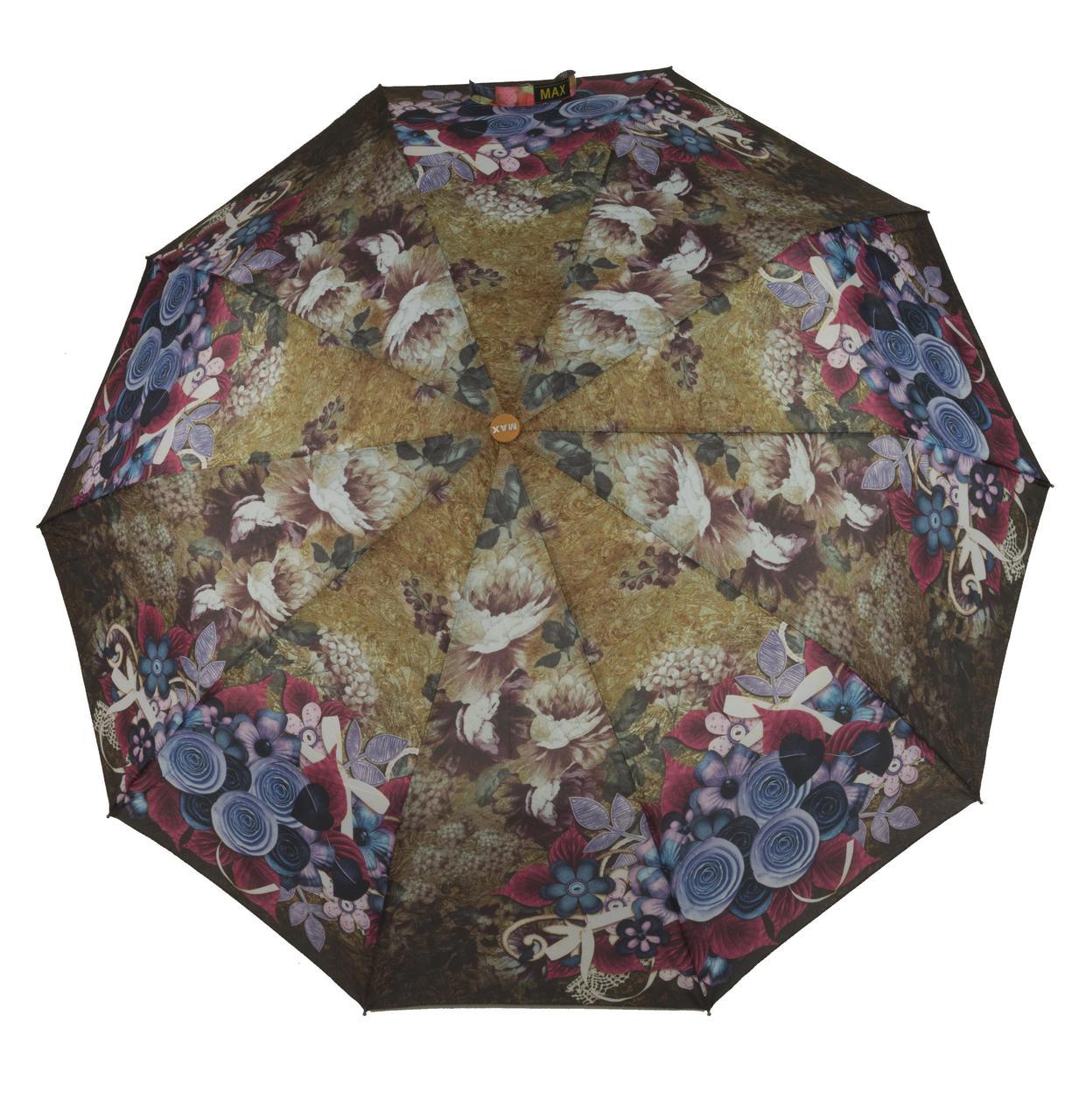 Женский качественный прочный зонтик полуавтомат MAX KOMFORT art. 3051 цветочный (102939)