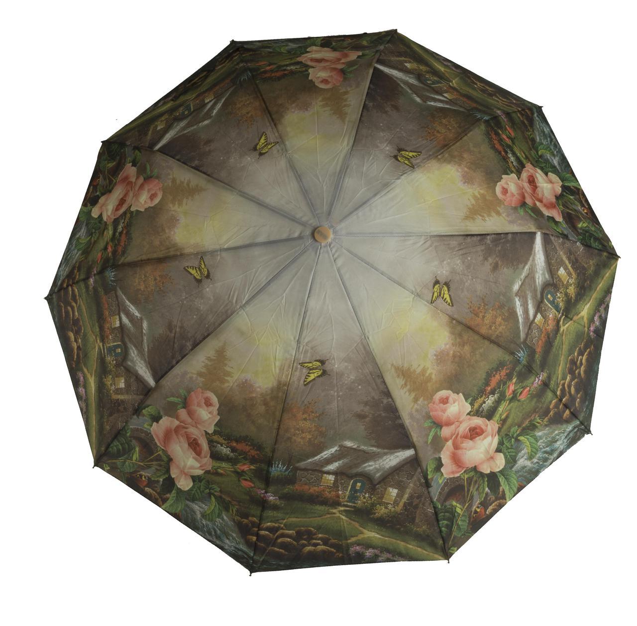 Женский качественный прочный зонтик полуавтомат MAX KOMFORT art. 3051 цветочный (102889)