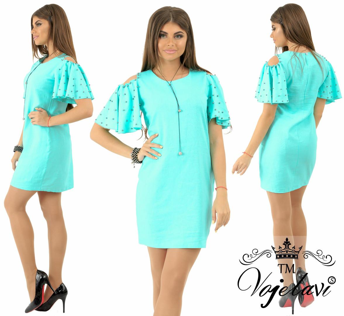 012cd7e990e Женское летнее платье лен жемчуг р.42