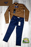 Костюм Armani для мальчика: коричневая рубашка и темно-синие брюки, фото 1