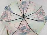 Атласный женский зонт город в цветах на 8 спиц полуавтомат , фото 2