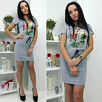 "Платье с с термонаклейкой ""Парфюм"" серого  цета от YuLiYa Chumachenko, фото 1"
