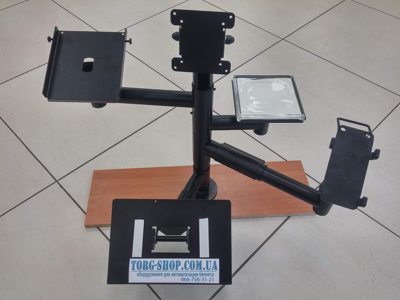 Стойка с верхним креплением дисплея, держателем принтера, терминала, монетницы и клавиатуры