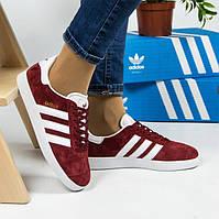 Женские кроссовки Adidas Gazelle Bordo (реплика)