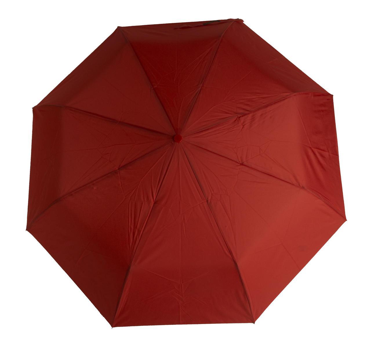 Женский симпатичный однотонный прочный зонтик автомат SUSINO art. 53002 красный (102895)