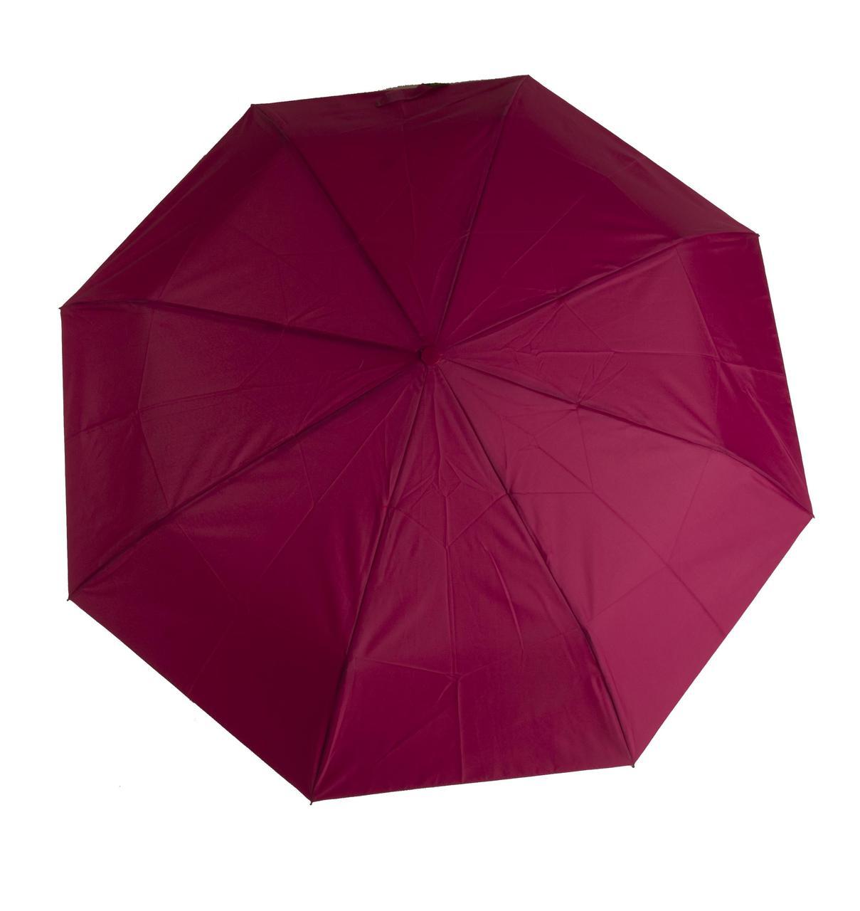 Женский симпатичный однотонный прочный зонтик автомат SUSINO art. 53002 малиновый (102896)