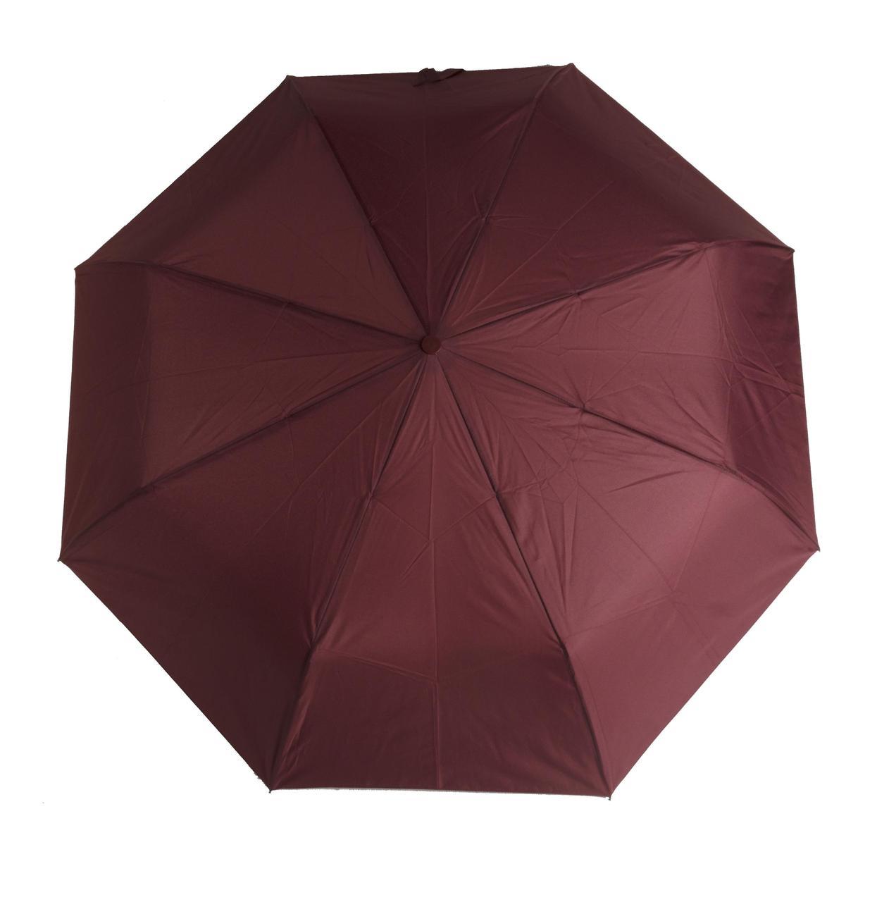 Женский симпатичный однотонный прочный зонтик автомат SUSINO art. 53002 бордовый (102898)