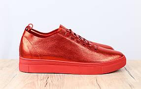 Женские кожаные кеды, материал - натуральная гладкая кожа, цвет - красный