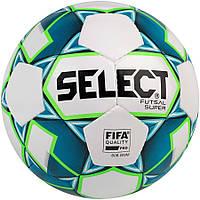 М'яч футзальний Select Futsal Super FIFA, біло-синій, р. 4, ламінований, низький відскік, фото 1