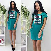 "Платье зеленого цвета с нашивкой ""Роза"" от YuLiYa Chumachenko, фото 1"
