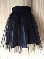 Юбка школьная евросетка р.122-140 тёмно - синяя, фото 1