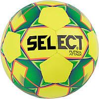 Мяч футзальный Select Futsal Attack New желто-зеленый, р. 4, не ламинированный, низкий отскок