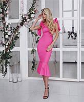 Облегающее платье с завязками и оборкой  / креп - дайвинг / Украина 27-128