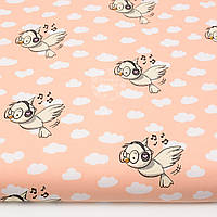 """Ткань хлопковая """"Птички в наушниках"""" на персиковом фоне, №1429а"""