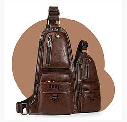 Темно-коричнева сумка-рюкзак через плече Jeep J1941 DB