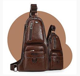 Темно-коричневая сумка-рюкзак через плечо Jeep J1941 DB