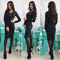 Женское платье с кожаными вставками, черного цвета от YuLiYa Chumachenko, фото 1