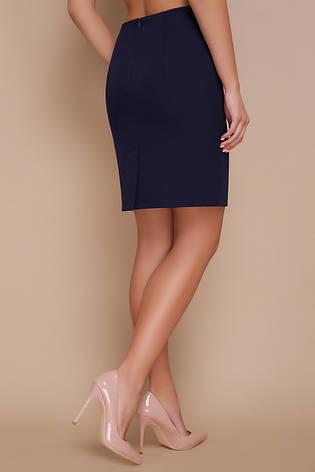 Прямая темно-синяя юбка выше колена классика мод. №1, фото 2