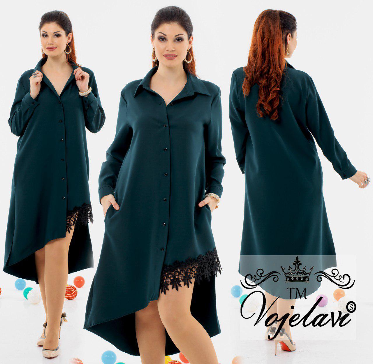 609f76d8996 Длинное элегантное женское платье рубашка с кружевом A1093 оптом и в ...