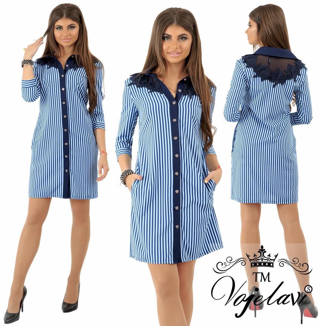 9d02f73fa35 Летнее женское платье-рубашка в мелкую полоску р.42