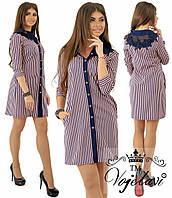 Летнее женское платье-рубашка в мелкую полоскур.42,44,46.(4расцв.), фото 1