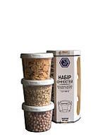 Набір ємностей для мілких дрібних та рідких продуктів 3х200мл. білий (арт. 88б)