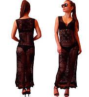 Черное вязаное крючком платье в пол с ажурными фрагментами