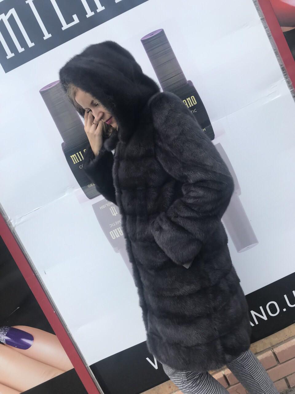 Норковая Шуба с капюшоном длина 100 см