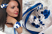 """Комплект украшений """"Бело-синие розы""""(заколка/веточка+ браслет)"""