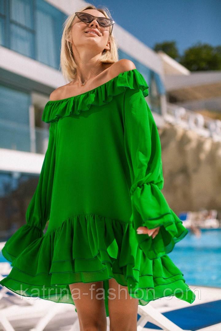 bf457ed73a5 Женское стильное шифоновое платье свободного кроя с воланами (7 цветов)
