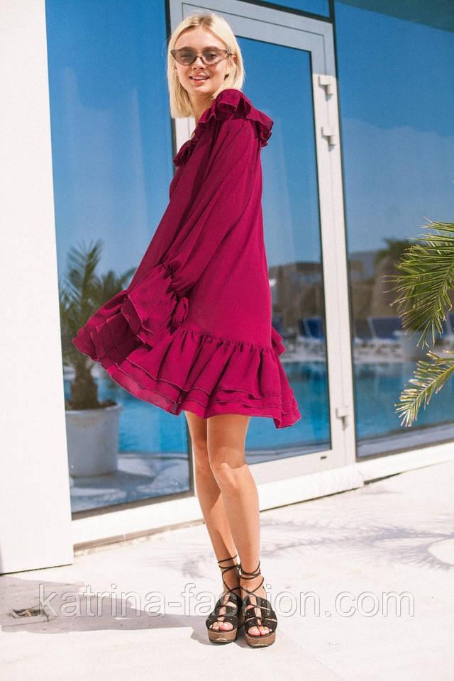 dee98b54857 Женское стильное шифоновое платье свободного кроя с воланами (7 ...