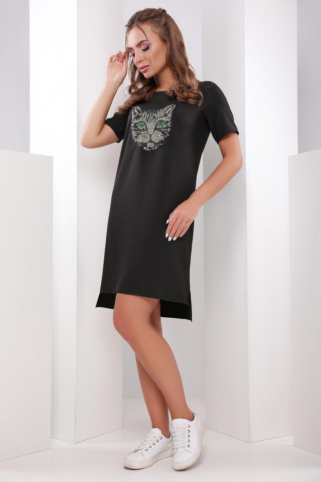 Летнее платье мини асимметричное прямое короткий рукав нашивка кот черное