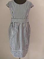 Платье в полоску, юбка клёш, тонкий коттон, р.44код 2320М