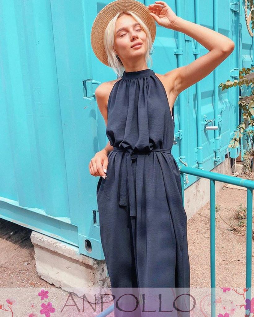 Платье свободное из софта с поясом открытые плечи