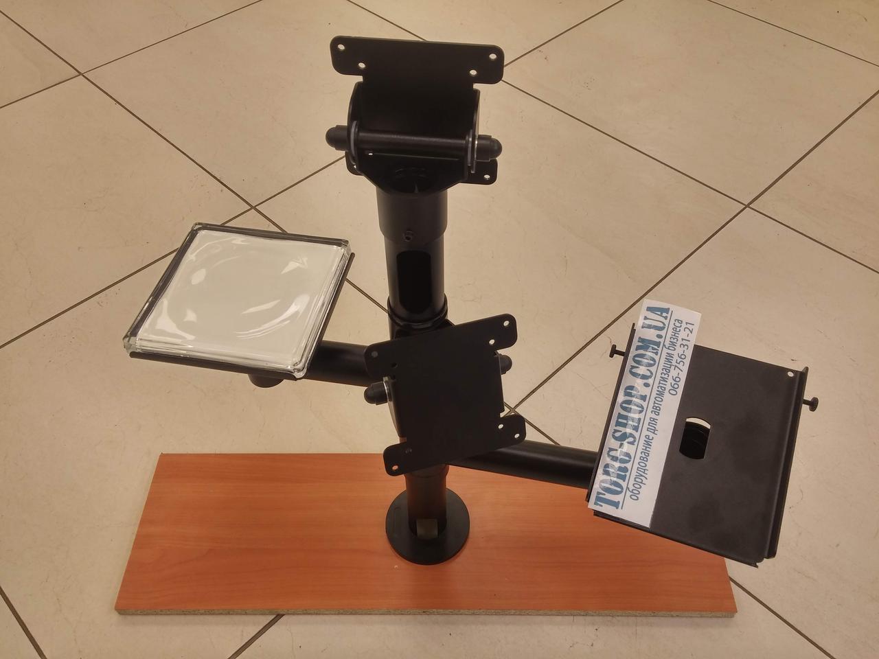 Стійка з верхнім і боковыс кріпленням дисплея і держателем принтера
