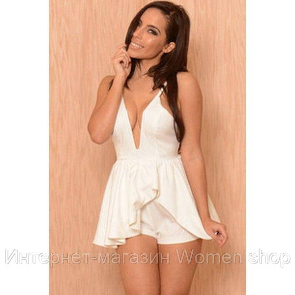 White Strappy Plunge Neck Ruffle Asymmetric Layer Playsuit