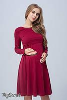 Женственное платье для беременных и кормящих OLIVIA, бордовое 1, фото 1