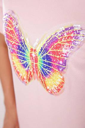Современное платье туника короткое прямого кроя рукав короткий разрезы бабочка персиковое, фото 2